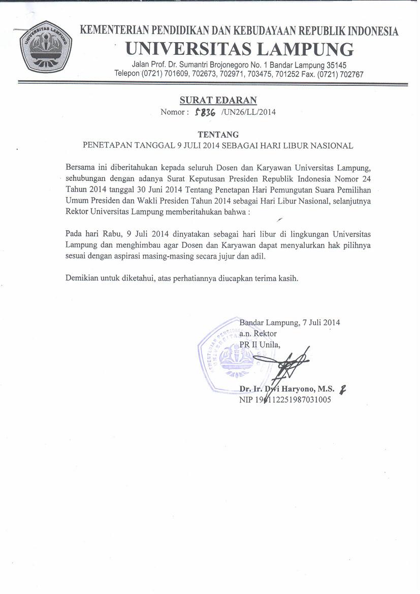 Surat Edaran Hari Libur Nasional Universitas Lampung
