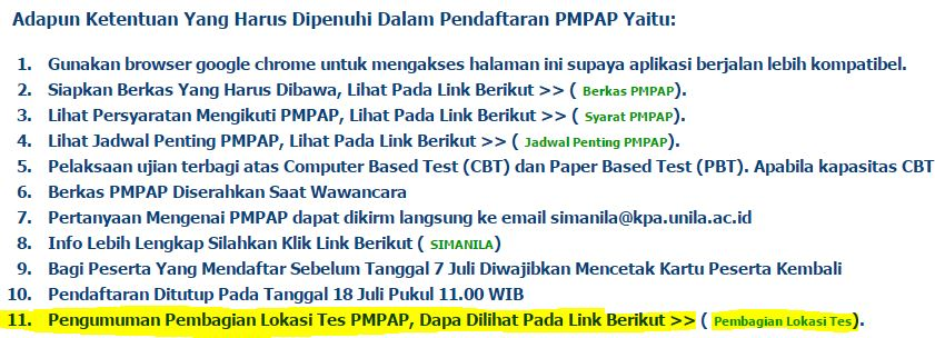 Lokasi Tes PMPAP